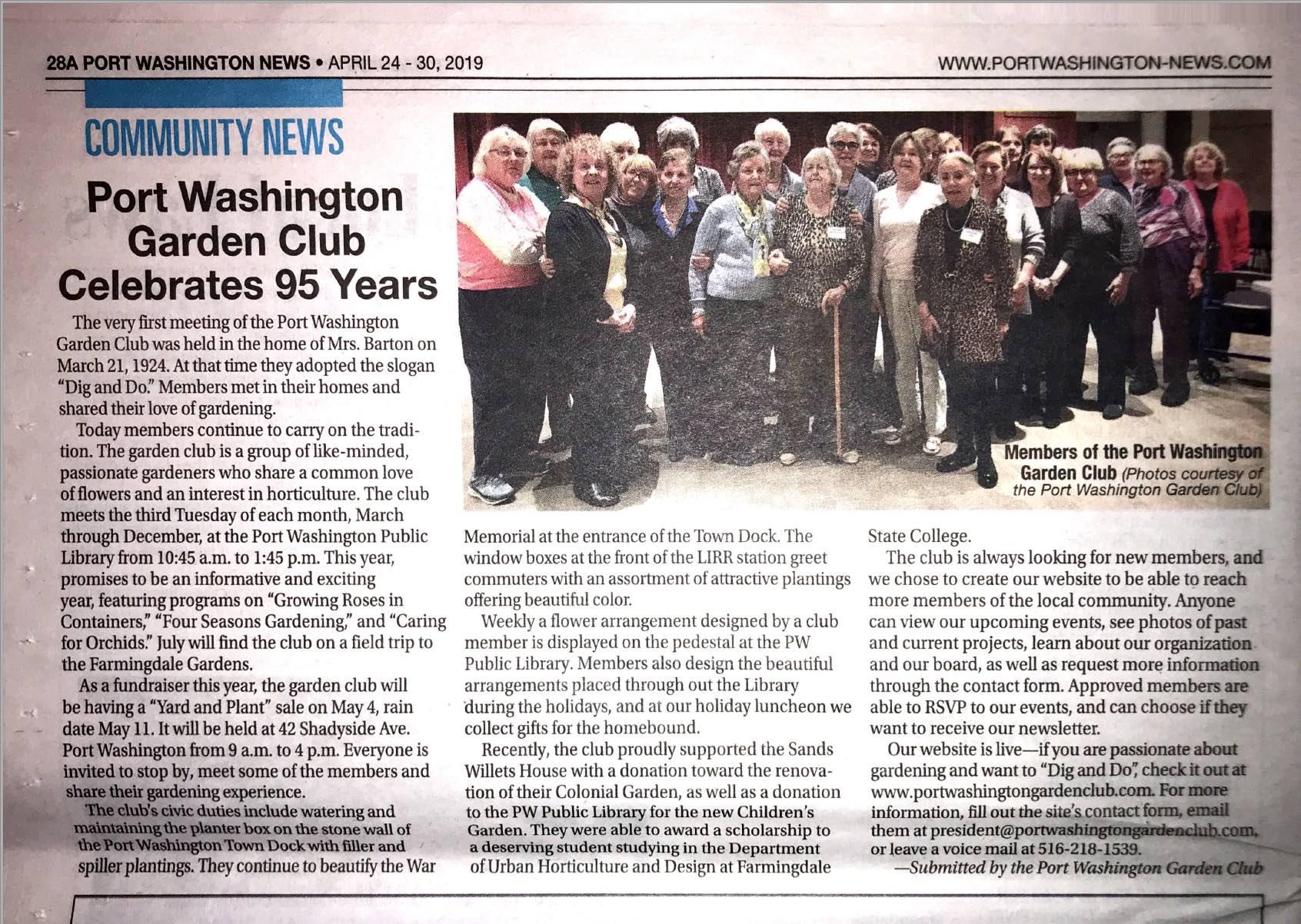 Port Washington Garden Club Celebrates 95 Years